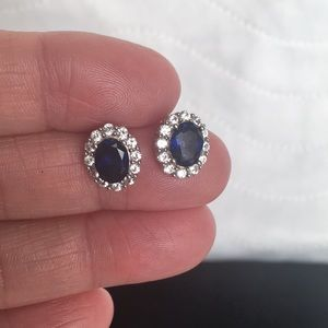 Sterling Silver Lab Created Sapphire Earrings
